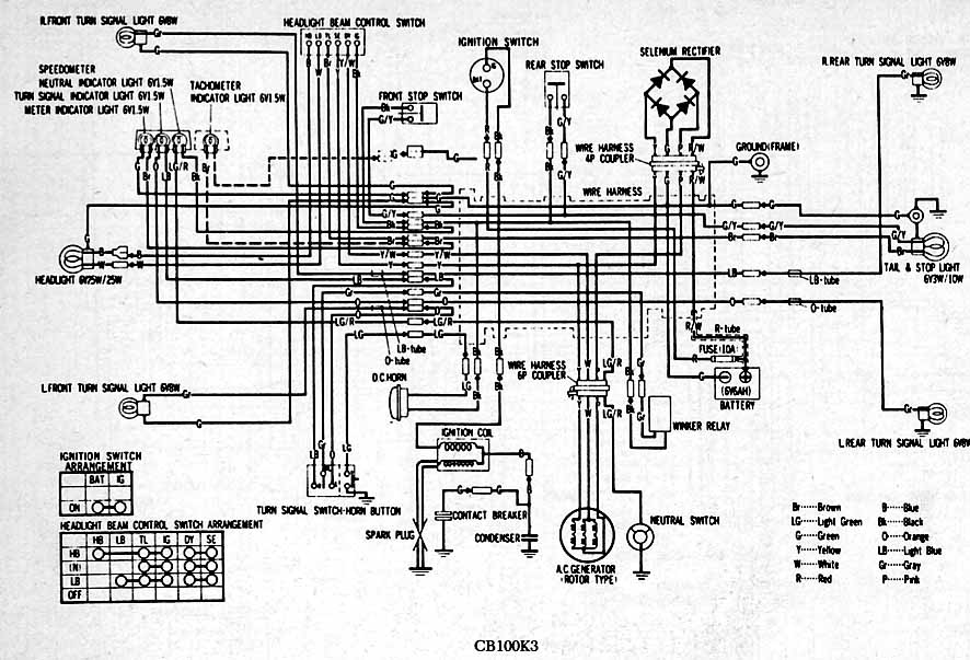 Dirt Bike 1976 Honda Ct90 Wiring Diagram Color - Block And Schematic ...